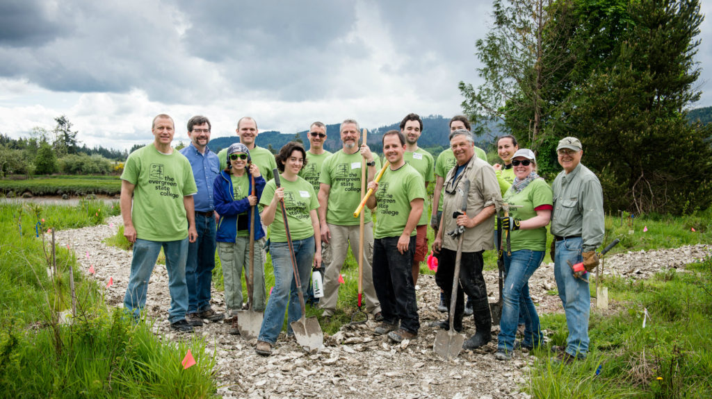 Celebrating the successful construction of the new trail at Randall! Image credit: The Evergreen State College